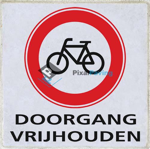 PixalPaving stoeptegel bedrukken - Gesloten voor fietsers doorgang vrijhouden