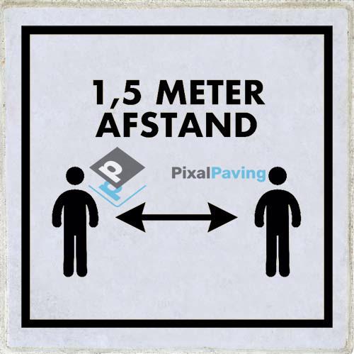 PixalPaving - stoeptegel bedrukken social distancing 1,5 meter printtegel