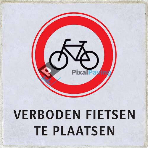 PixalPaving stoeptegel bedrukken - verboden fietsen te plaatsen