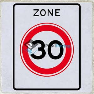 Aanduiding zone maximum snelheid 30km/h