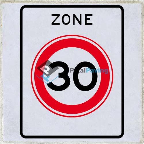 PixalPaving stoeptegel bedrukken - Aanduiding zone maximum snelheid 30km/h